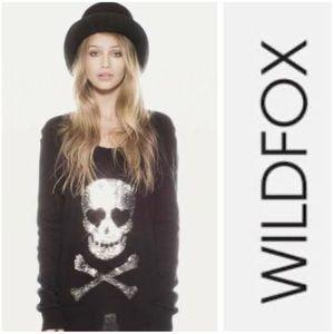 WildFox Black Love Scull Sequin Oversized Sweater